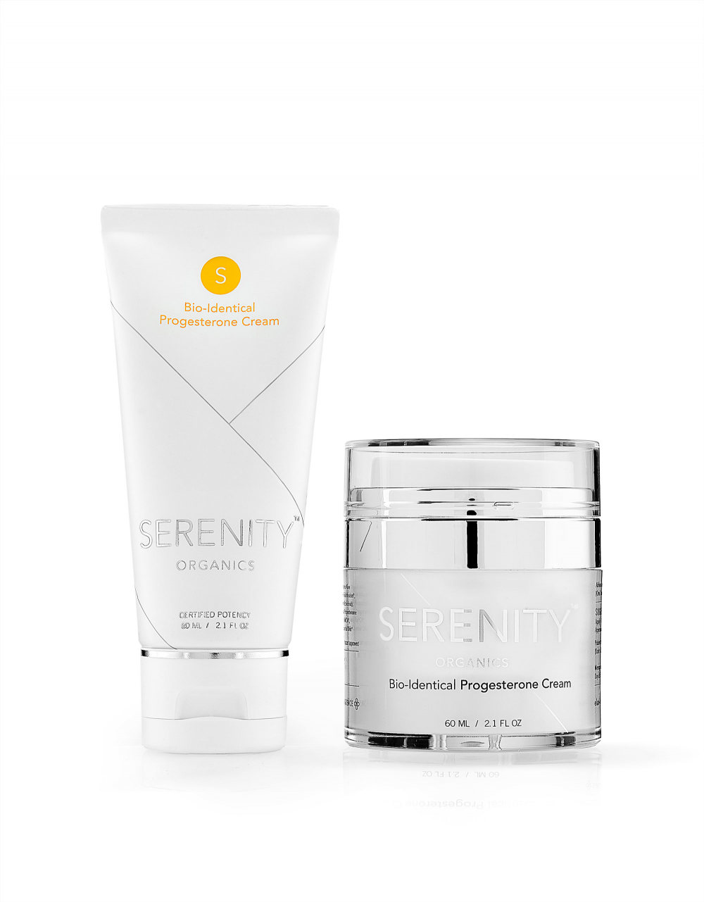 SERENITY-ORGANICS-Airless-Jar-and-tube-Serenity-Bio-Identical-Progesterone-Cream-PMS-Menopause-Infertility-Osteoporosis